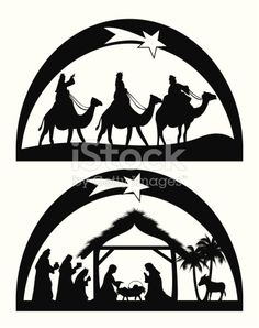Nativity royalty-free nativity stock vector art & more images of adult Silhouette Nativité, Nativity Silhouette, Christmas Projects, Christmas Crafts, Christmas Decorations, Christmas Nativity, Christmas Ornaments, Christmas Templates, Scroll Saw Patterns