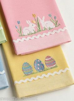 Bunny & Egg Dish Hand Towel Set Easter Spring Set Of 2 in Collectibles, Holiday & Seasonal, Easter Applique Towels, Embroidered Towels, Pink Towels, Tea Towels, Guest Towels, Towel Crafts, Easter Parade, Hand Towel Sets, Easter Candy