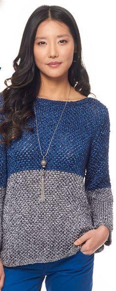 Blusa de tricô em duas cores Camisetas De Crochê 9a22100289c