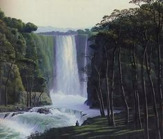 Scenic Paintings by Tomas Sanchez , Waterfall