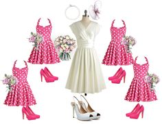 Bridal and bridesmaid look inspiration with pink.