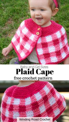 Crochet a plaid cape to keep the babies and girls warm during fall. Free crochet pattern by Winding Road Crochet. Crochet Baby Cardigan Free Pattern, Plaid Crochet, Crochet Baby Sweaters, Baby Hat Knitting Pattern, Crochet Cape, Baby Girl Crochet, Crochet Baby Clothes, Crochet For Kids, Baby Knitting