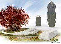 "Eco-casket with embedded tree seedling and a perpetually-glowing headstone powered by the Co2 emitted from the body's decomposition. From ""Design for Death"", a competition that invited designers to propose new burial methods in the face of emerging problems ."