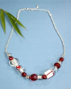 Beaded Necklace ~ White / Red / Clear Art Glass & Lucite Beads ~ Holiday Gift #Beaded