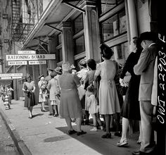 U.S. Line at rationing board, New Orleans, Louisiana, photographed by John Vachon for the Office of War Information, March 1943.