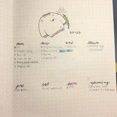 Bullet journal weekly layout, cursive date headers, winter drawings, header with highlighter. @maeve.studies