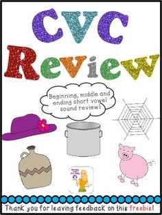 "This is just some quick little CVC review worksheets for your kiddos to use! Enjoy! Follow me here for more freebies: <a href=""http://learningwithmrsleeby.blogspot.com"">Learning With Mrs. Leeby</a>"