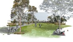 The North West Rail Link is Sydney's largest transport infrastructure project since work commenced on the Sydney Harbour Bridge. The 23 kilometre rail link will cater for future growth in the booming Landscape Sketch, Landscape Architecture Design, Architecture Drawings, Urban Landscape, Architecture Photo, Photomontage, Urban Design Plan, Visualisation, Master Plan