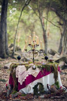 Magical Tablescape-Too over the top for a wedding for me personally, but I'd roll with this look for maybe a Halloween party table.