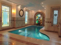 Interior Tiffany Style stained glass deco - mediterranean - windows - toronto - Casaloma Art Glass