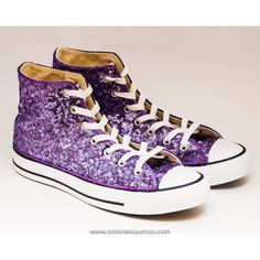 Sequin Lavender Purple Converse Hi Top Canvas Sneaker Shoes ($185) ❤ liked on Polyvore featuring shoes and sneakers