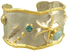 Sterling silver cuff with blue topaz, larimar, pearl, granulation, and 22K gold vermeil. Part of Michou's Poseidon's Treasures collection