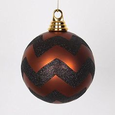 Felices Pascuas Collection Copper Matte and Black Glitter Chevron Shatterproof Christmas Ball Ornaments 4.75 inch (120mm)