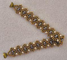 """DUO BOBBLE BAND 11/0 seed beads Miyuki """"Dark Bronze"""" (11-457D) SuperDuo beads """"Amethyst White Luster"""" 3mm pearls """"Light Bronze - #39""""..."""
