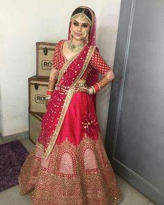 Pink Satin Silk with Embroidery Work Wedding Lehnga, Indian Bridal Lehenga, Indian Bridal Outfits, Indian Bridal Wear, Indian Dresses, Indian Wear, Indian Attire, Wedding Wear, Wedding Bells
