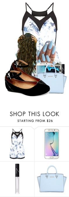 """""""Last day of school """" by pocket-full-of-rainbows ❤ liked on Polyvore featuring Fashion Union, Samsung, NARS Cosmetics, MICHAEL Michael Kors and Steve Madden"""