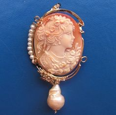 Stunning Antique Seed Pearl Shell Cameo Pin Pendant Exceptional Quality Carved | eBay