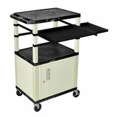 Luxor Black with Putty Cabinet Presentation Station by Luxor. $326.00. Shelves are constructed with a injection molded thermoplastic resin. Will not chip, warp, rust or peel. Shelves have a .25 inch safety retaining lip.