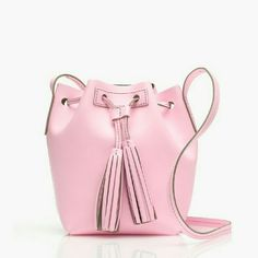 Sale!  J. Crew Pink Mini Bucket Bag Leather Brand new with tags. Perfect bag for summer. Has inside pocket. Beautiful pink color. J. Crew Bags Crossbody Bags