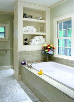 Trendy bathroom tub surround built ins Ideas Bathroom Renos, Laundry In Bathroom, Bathroom Interior, Small Bathroom, Master Bathroom, Bathroom Ideas, Bathroom Shelves, Master Tub, Bathroom Tubs