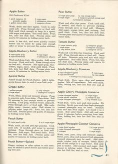 VINTAGE RECIPES: 1950S HOME CANNED JAMS AND JELLIES: The following recipes are from Ball Blue Book Home Canning and Freezing Recipes and Methods 1956,  Ball Brothers Co. Muncie, Indiana.