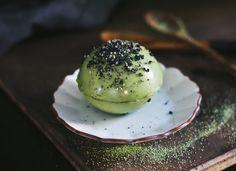 Dairy-Free Matcha Green Tea and Black Sesame Pudding Spheres
