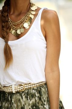 tank + skirt + gold accents #summerstyle #fashion
