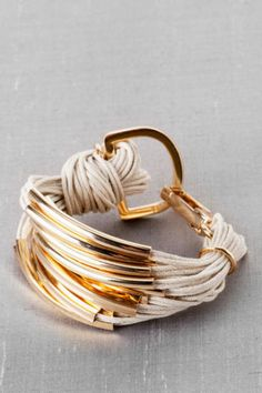 Brixton Metal Bar Bracelet in Ivory
