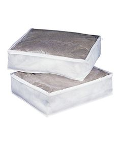 This White Blanket Bag - Set of Two by Organize It All is perfect! #zulilyfinds   $6.49 set of 2 ==I like to keep blankets and sheet sets nice after washing while in waiting to be used.