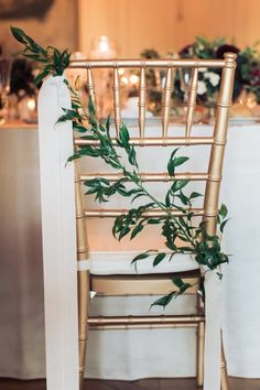 Chiavari chair back detail greenery and ribbon | Rhode Island Wedding with European Flair - MODwedding