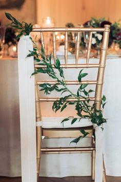 Chiavari chair back detail greenery and ribbon | Rhode Island Wedding with European Flair - MODwedding