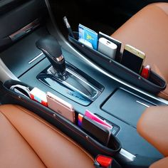 car gadgets No more dropping of small items and digging it in between your car seat and console. This Car Seat Pocket was designed to perfectly fit unused spaces between your car seats and provide extra storage with easy accessibility. Car Interior Accessories, Cute Car Accessories, Vehicle Accessories, Car Storage Box, Extra Storage, Seat Storage, Organizer Box, Pocket Organizer, Car Seat Organizer