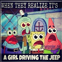 I get this all the time! They are always so disappointed when they see the middle-aged teacher driving the jeep.