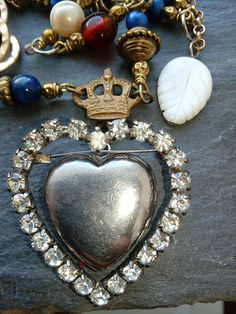 crowned heart, assemblage necklace, locket, upcycled vintage, repurposed jewelry, cherub, romantic, sentimental, pearl, vintage statement, Royal Jewelry, Heart Jewelry, Jewellery, Heart Locket, Locket Necklace, Vintage Lockets, Vintage Jewelry, Upcycled Vintage, Repurposed