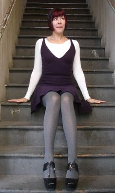 (reverse) Have: grey dress, plum tights Need: black wedge booties
