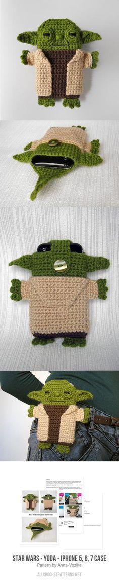 Star Wars Yoda iPhone 5 6 7 case crochet pattern - Star Wars Shoes - Ideas of Star Wars Shoes - Star Wars Yoda iPhone 5 6 7 case crochet pattern Diy Tricot Crochet, Crochet Home, Crochet Gifts, Cute Crochet, Crochet Dolls, Star Wars Crochet, Crochet Stars, Yarn Projects, Crochet Projects