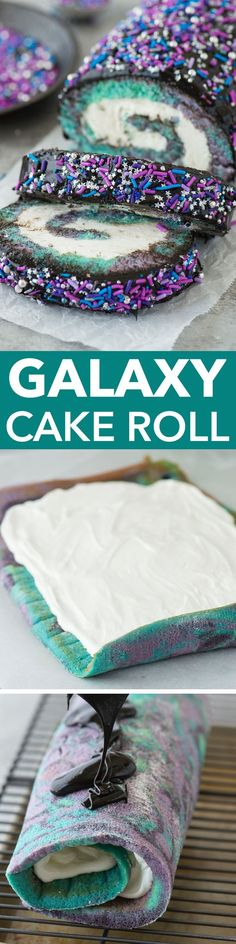 Multi-colored galaxy cake roll with black chocolate ganache, topped with sprinkles!