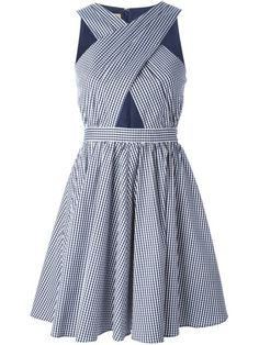 Michael Kors Crossed Front Gingham Flared Dress. Shop it and 14 other preppy dresses perfect for any Kentucky Derby-related activity.