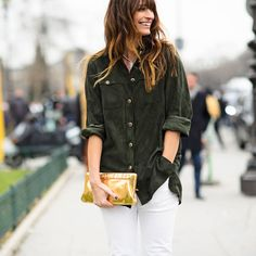 Suede button-down and white denim, French girl style