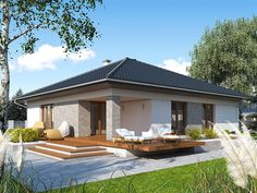 Projekt domu MT Ariel paliwo stałe CE - DOM - gotowy koszt budowy Bungalow Haus Design, Bungalow House Plans, House Layout Plans, House Layouts, House Paint Exterior, Dream House Exterior, Best House Plans, Dream House Plans, House Roof