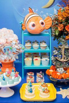 Festa Infantil Procurando Nemo - Carol Nazar Babies Party Decoration, Halloween Snacks, Baby Shower Themes, Birthday Party Themes, Party Planning, First Birthdays, Finding Dory, Fish Theme, Baby Shark