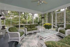Screened Porch furniture arrangement, painted floor.  (no link anymore, reference only)