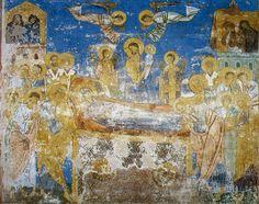 Успение Богоматери Фреска восточной стены северной ветви подкупольного креста.