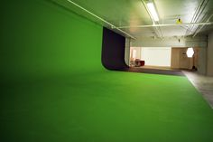 green cyclorama wall and black cyclorama wall Sound Stage, Exhibition Display, Shipping Container Homes, Photo Studio, Cinematography, Studio Ideas, Green, Alphabet, Photography