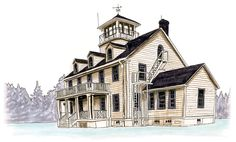 Sketch of the Point Adams Research Station in Hammond, Oregon.