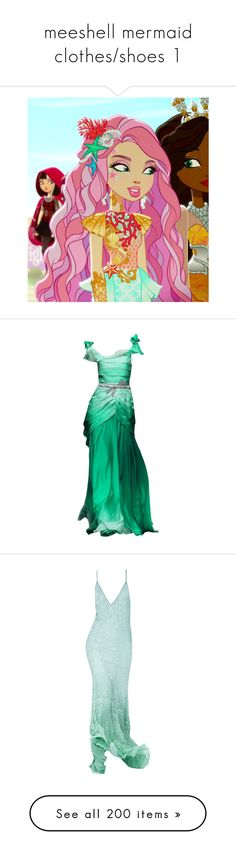 """""""meeshell mermaid clothes/shoes 1"""" by srta-sr ❤ liked on Polyvore featuring smreah, gowns, dresses, long dresses, mermaid, ariel, roberto cavalli, roberto cavalli evening gowns, long green evening dress and long green dress"""