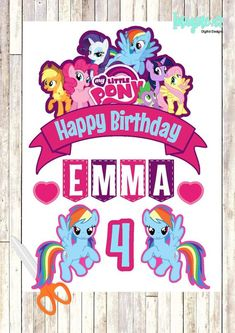 My Little Pony Topper, My Little Pony Banner, My Little Pony Cake Topper, My Little Pony Birthday, M Fiesta Little Pony, My Little Pony Cumpleaños, Cumple My Little Pony, Sonic Birthday, My Little Pony Birthday Party, My Little Pony Printable, Party Poster, Alphabet And Numbers, Image Printable