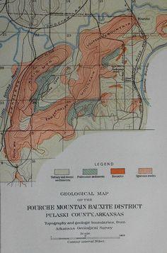 1901: Fourche Mountain, Arkansas Map. Pulaski County. Bauxite Mining District. Antique Original Lithograph by Julius Bien.