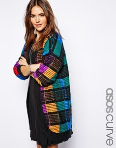 Enlarge ASOS CURVE Exclusive Knitted Cardigan In Multicolour