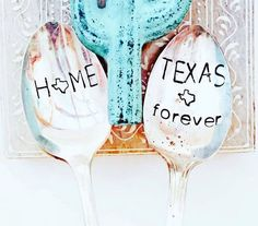 Texas Forever home Spoon, Texans, Coffee Spoons, Longhorn, Trust Me I'm Texan… Holiday Gift Tags, Christmas Gifts, Vintage Thrift Stores, Texas Forever, Coffee Spoon, Pretty Patterns, Texans, My Stamp, Metal Stamping